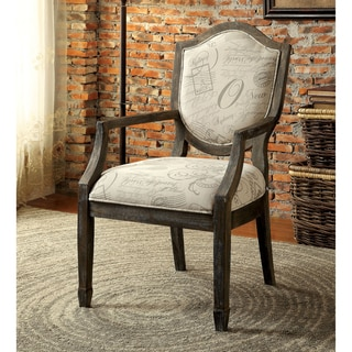 Furniture of America Alfie Reclaimed Grey/Script Fabric Accent Chair