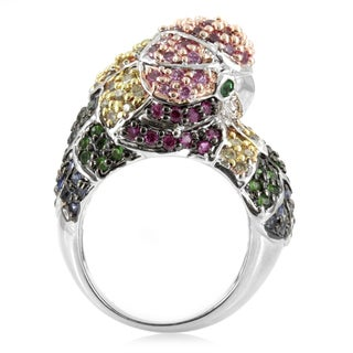 Sterling Silver Cubic Zirconia Parrot Cocktail Ring