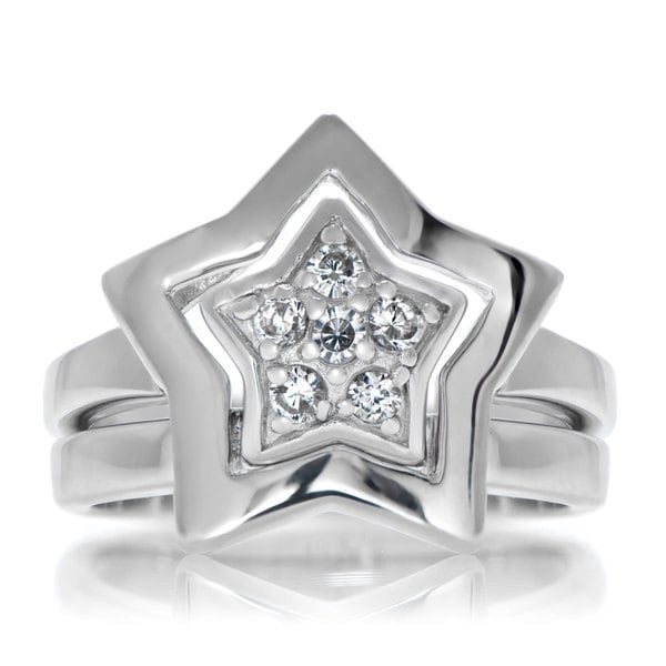 Sterling Silver Pave-set Cubic Zirconia Double Star Ring