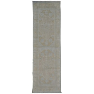 Milk Wash Khotan Oriental Handmade 100% Wool Runner Rug (3' x 9'10)