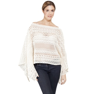 Women's Off-white Light Netted Bali Pancho Top (India)