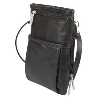 Travelon Black Leather Mini Organizer Bag