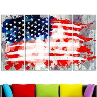 Design Art 'Abstract US Flag' - Canvas Art