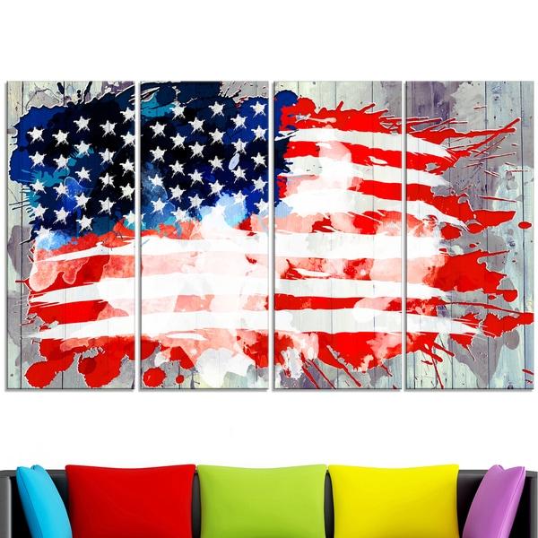 Design Art 'Abstract US Flag' - Canvas Art 15143231