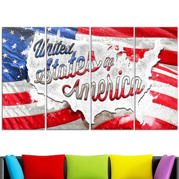 Design Art 'Abstract US Flag' Canvas Art 15143232