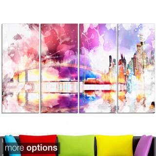Design Art ' Magic Colorful City art Night' Canvas Art