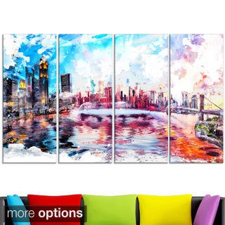 Design Art 'Colorfull NYC Cityscape - Large Americana Canvas Art Print