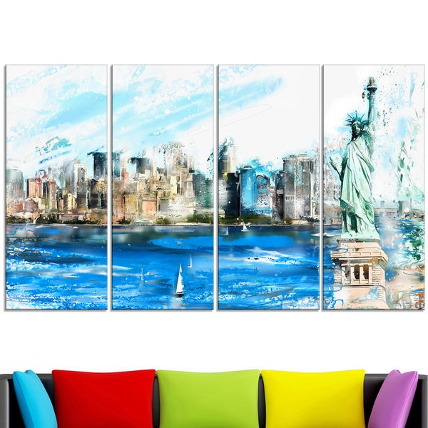 Design Art 'Ellis Island Landscape' Large Americana Canvas Art Print 15143301