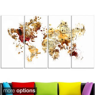 Design Art 'Brown and Beige' Map Canvas Art Print