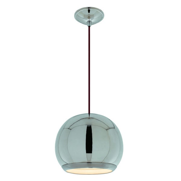 Eye 1-light Polished Nickel Pendant with Brushed Nickel Trim