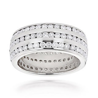Luxurman 18k White Gold 4 1/2ct TDW Diamond 3-row Eternity Band (G-H, VS1-VS2)
