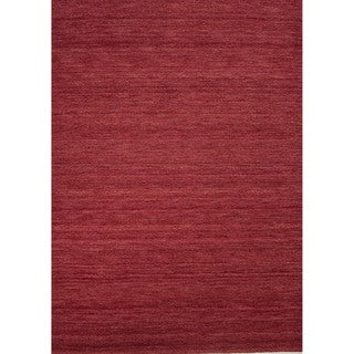 Solids/ Handloom Solid Pattern Red/ Red Area Rug (8' x 10')