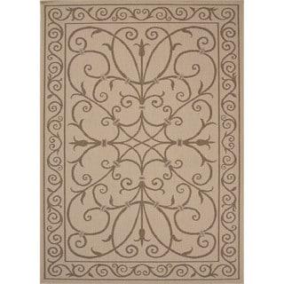 Indoor/ Outdoor Oriental Pattern Brown/ Brown Area Rug (2' x 3'7)