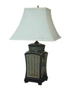 Porcelain Tea Jar Oriental Lamp (China)