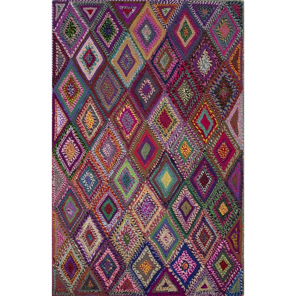Textured Geometric Pattern Multi/ Multi Area Rug (2' x 3')