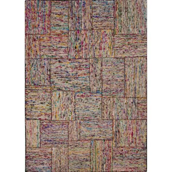 Textured Stripe Pattern Multi/ Multi Area Rug (2' x 3')