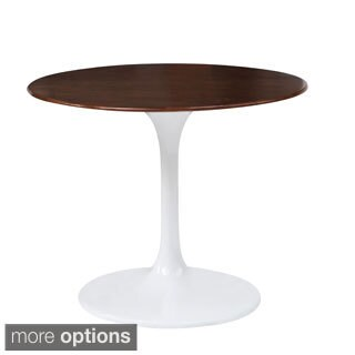 Contemporary Aluminum Flower Table with Walnut Wood Top