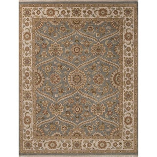 Hand-Knotted Oriental Pattern Blue/ Ivory Area Rug (9' x 12')