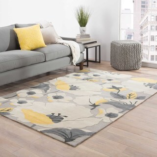 Hand-tufted Floral Pattern Grey/ Yellow Area Rug (2' x 3')