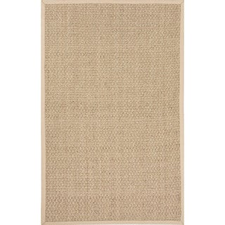 Naturals Solid Pattern Ivory/ Brown Area Rug (7'6 x 9'6)