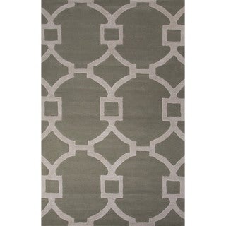 Hand-Tufted Geometric Pattern Green/ Grey Area Rug (8' x 11')