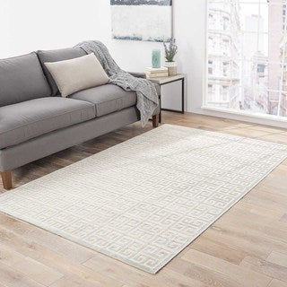 Machine Made Geometric Pattern Ivory/ Grey Area Rug (7'6 x 9'6)