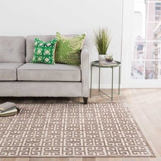 Machine Made Geometric Pattern Ivory/ Brown Area Rug (9' x 12')
