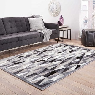 Machine Made Geometric Pattern Grey/ Grey Area Rug (7'6 x 9'6)