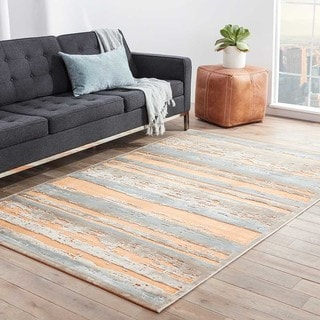 Machine Made Stripe Pattern Orange/ Brown Area Rug (9' x 12')