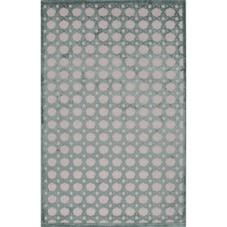 Machine Made Geometric Pattern Ivory/ Blue Area Rug (9' x 12')