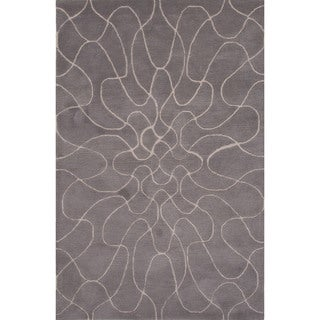 Hand-Tufted Geometric Pattern Grey/ Ivory Area Rug (8' x 11')