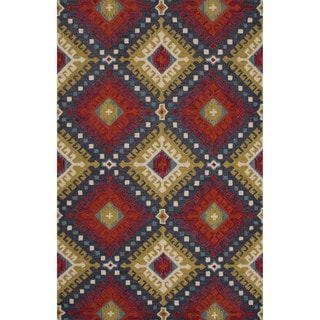 Hand-Tufted Argyle Red/ Red Area Rug (8' x 11')