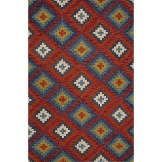 Hand-Tufted Argyle Pattern Red/ Red Area Rug (8' x 11')