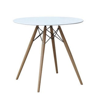 Wood Leg Dining Table with White Fiberglass Top