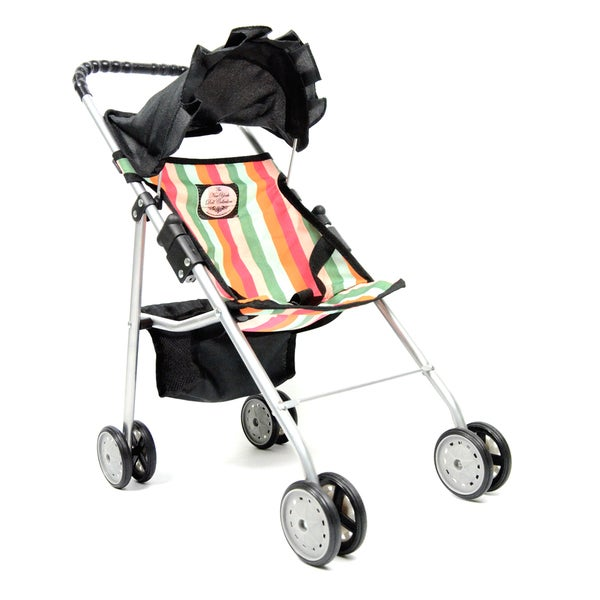 The New York Doll Collection Black/ Stripes Travel Stroller for 18-inch Dolls