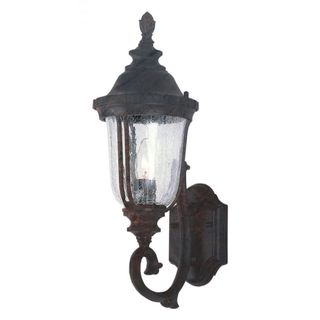 Cambridge Black Copper Finish Outdoor Wall Lantern With a Crackle Shade