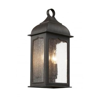 Cambridge Rubbed Oil Bronze Finish Outdoor Wall Lantern With a Seeded Clear Shade