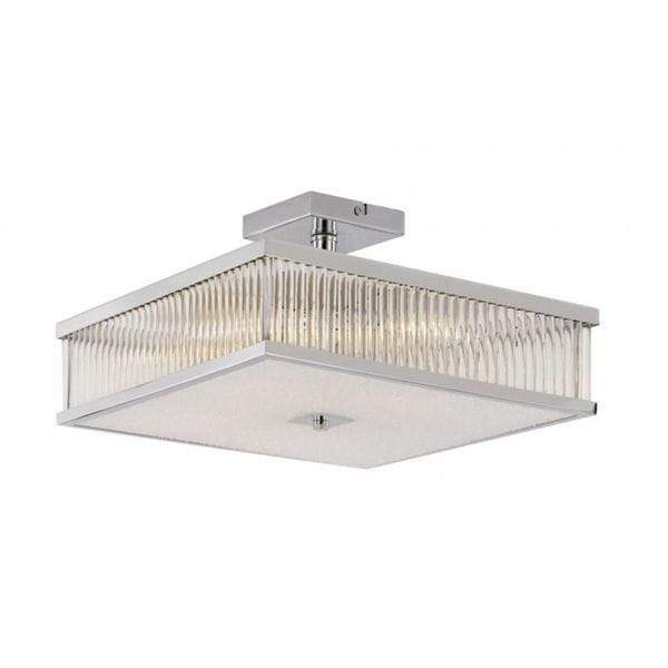 Cambridge 4-Light Polished Chrome 19.75 in. Semi Flush Mount with Frosted Glass