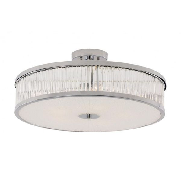 Cambridge 5-Light Polished Chrome 20 in. Semi Flush Mount with Frosted Glass