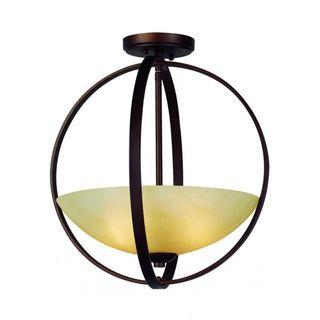 Cambridge 2-Light Antique Bronze 15.5 in. Semi Flush Mount with Tea Stain Glass
