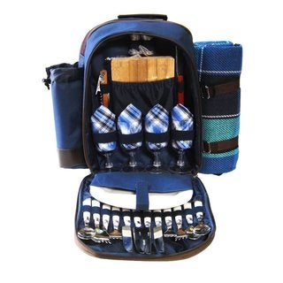 Picnic Pack Picnic Backpack for 4 with Plaid Blue Blanket