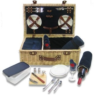 Picnic Pack Classic Wicker Picnic Basket with Built-in Food Compartment Upscale Service for 4 with Windsor Fleece Blanket