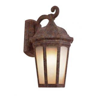 Cambridge Rust Finish Outdoor Wall Sconce With A Tea Stain Shade
