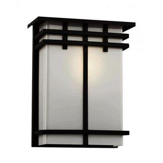 Cambridge Black Finish Outdoor Wall Sconce With a White Shade