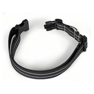 Petflect Black Poly Two Stripe Reflective Collar