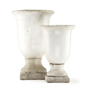 Distressed White Calyx Krater Urn