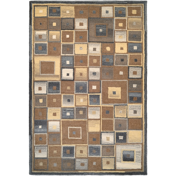 Super Indo/ Natural Abstract Squares Brown Rug (8' x 11')