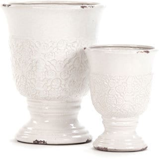 White Crackled Ceramic Urn