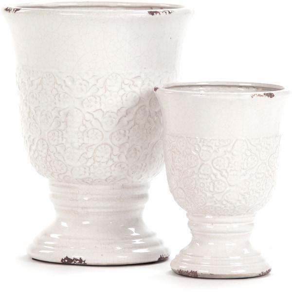 White Crackled Ceramic Urn