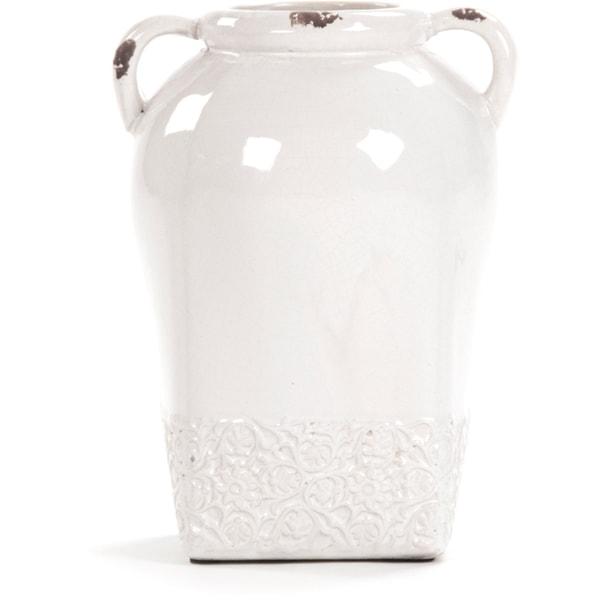 Victorian Tall White Ceramic Decorative Jar
